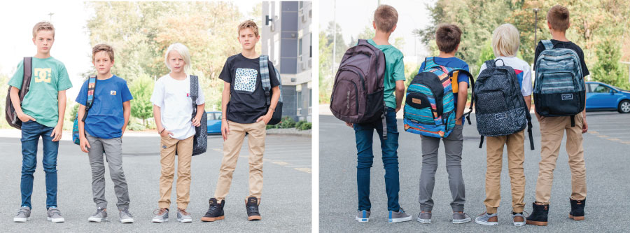 DC shirts and MID, Silvers, DC pants, Dakine Backpacks