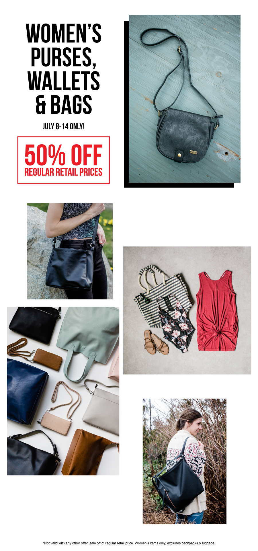 The deal of the week at Premium Label Outlet from July 8-14 is 50% off WOMEN'S bags, wallets and purses!