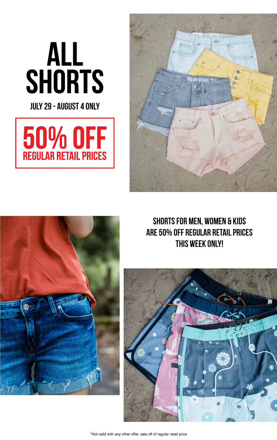 DEAL OF THE WEEK: 50% off all brand name shorts for men, women and kids!
