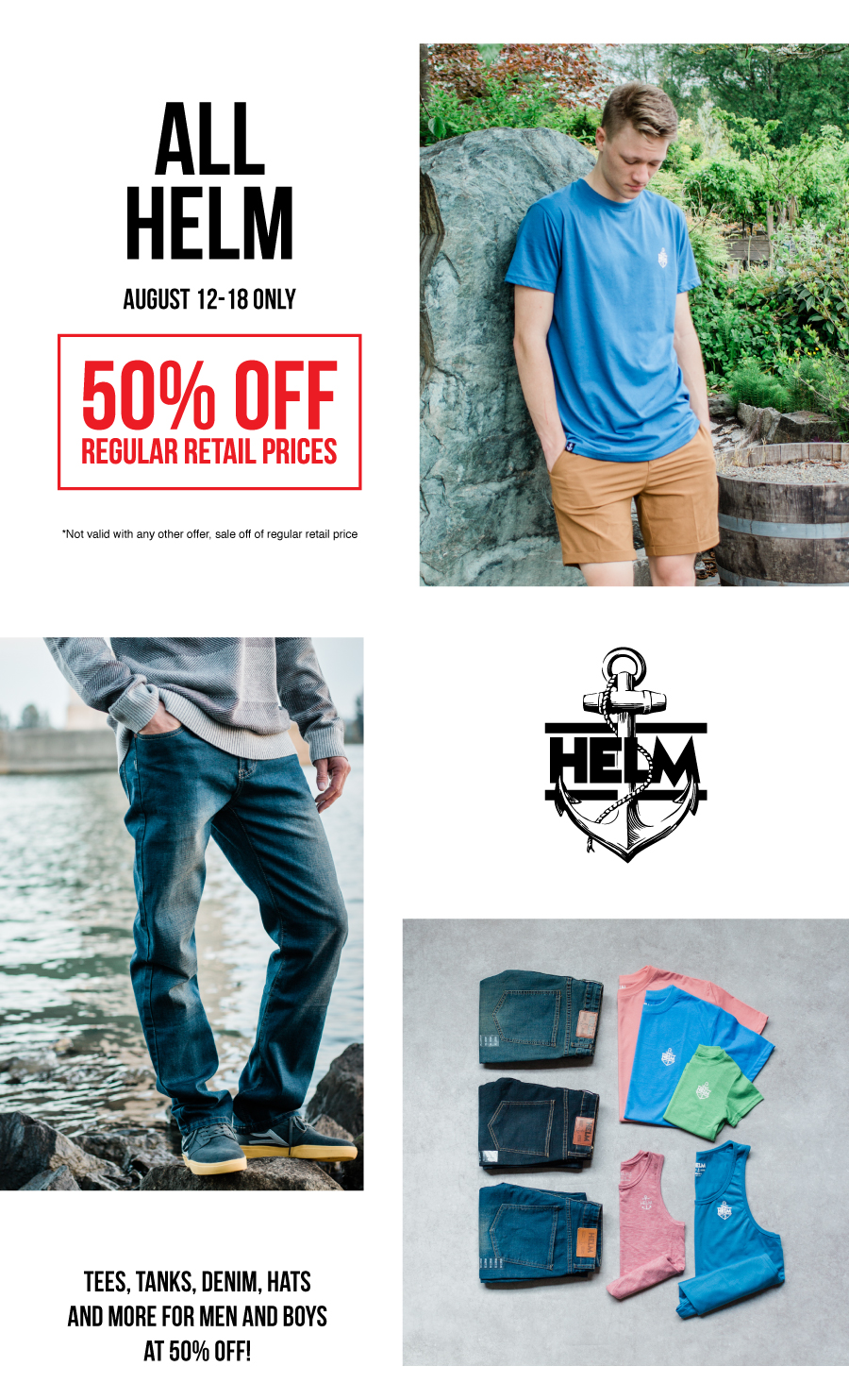 Deal of the week, 50% off all HELM APPAREL