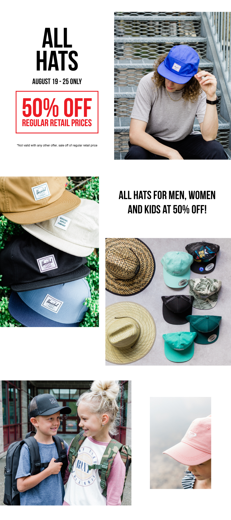 All hats are 50% off from August 9-25 as the DEAL OF THE WEEK at Premium Label Outlet!