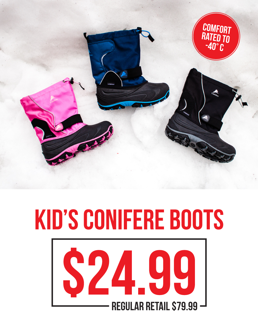 Conifere Snow boots for $24.99!
