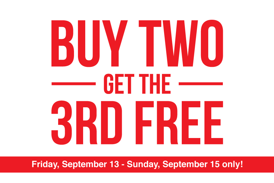 Fall sale: buy 2 get the 3rd free!