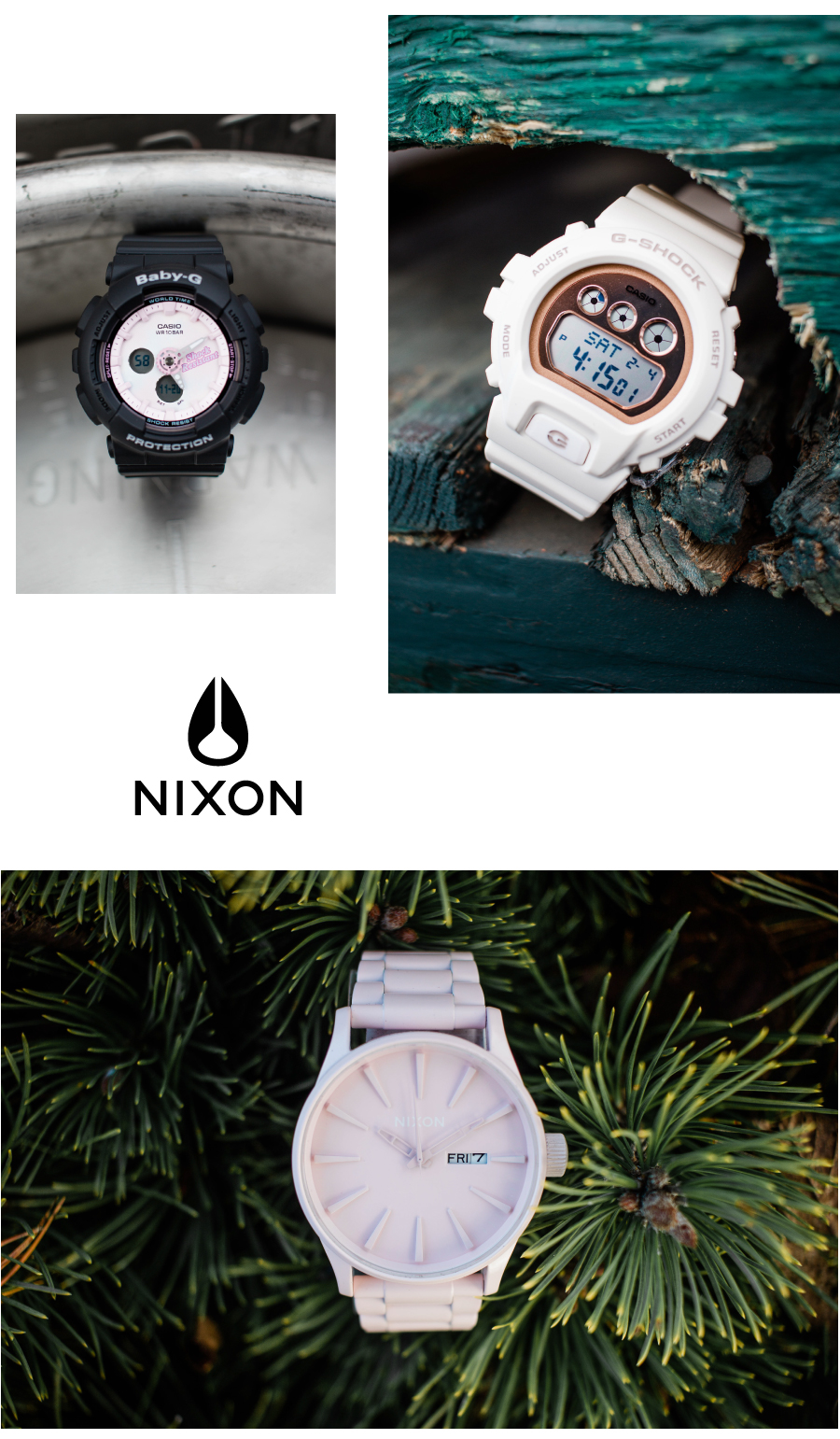 G-Shock and Nixon watches