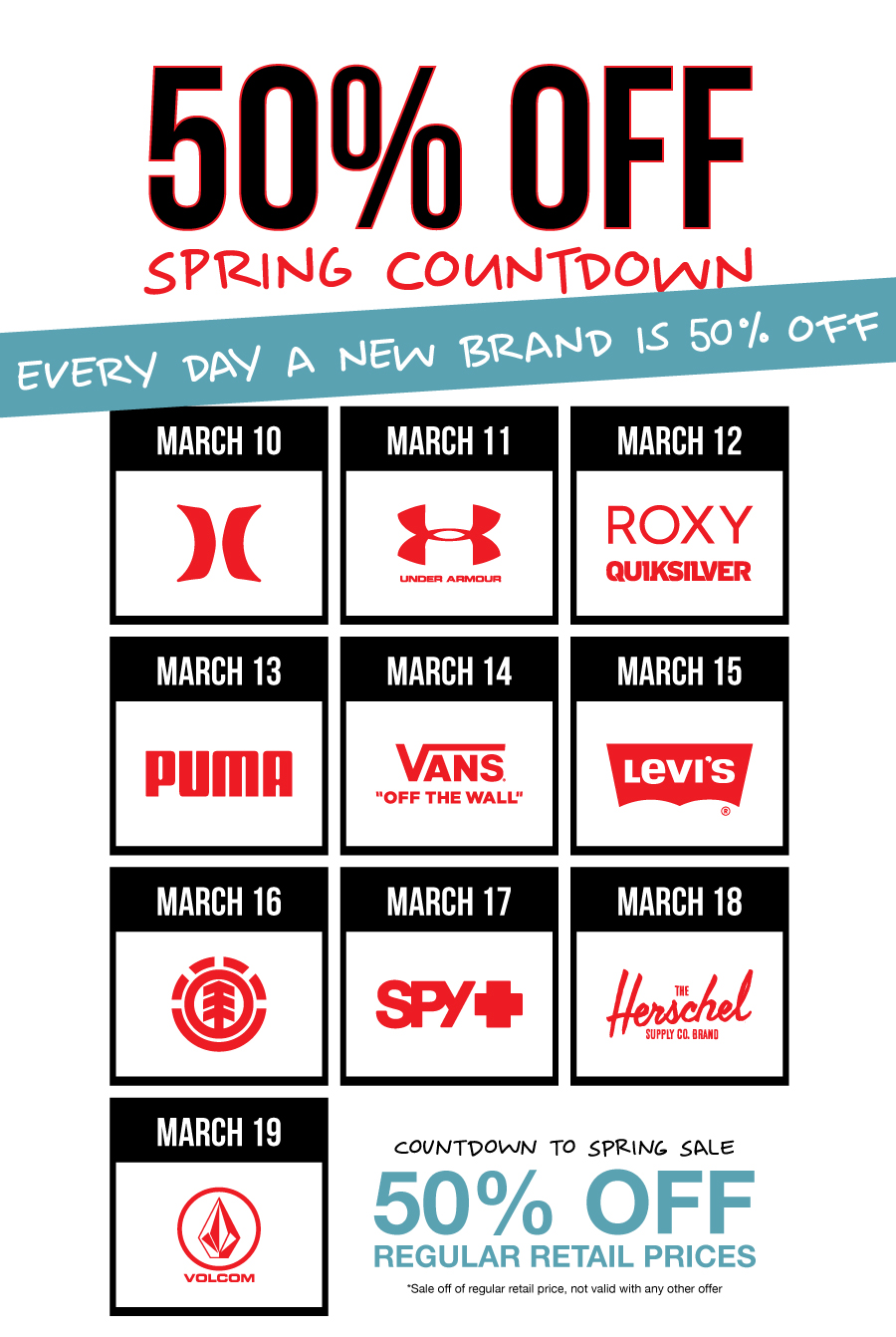 50% off Spring Countdown Sale
