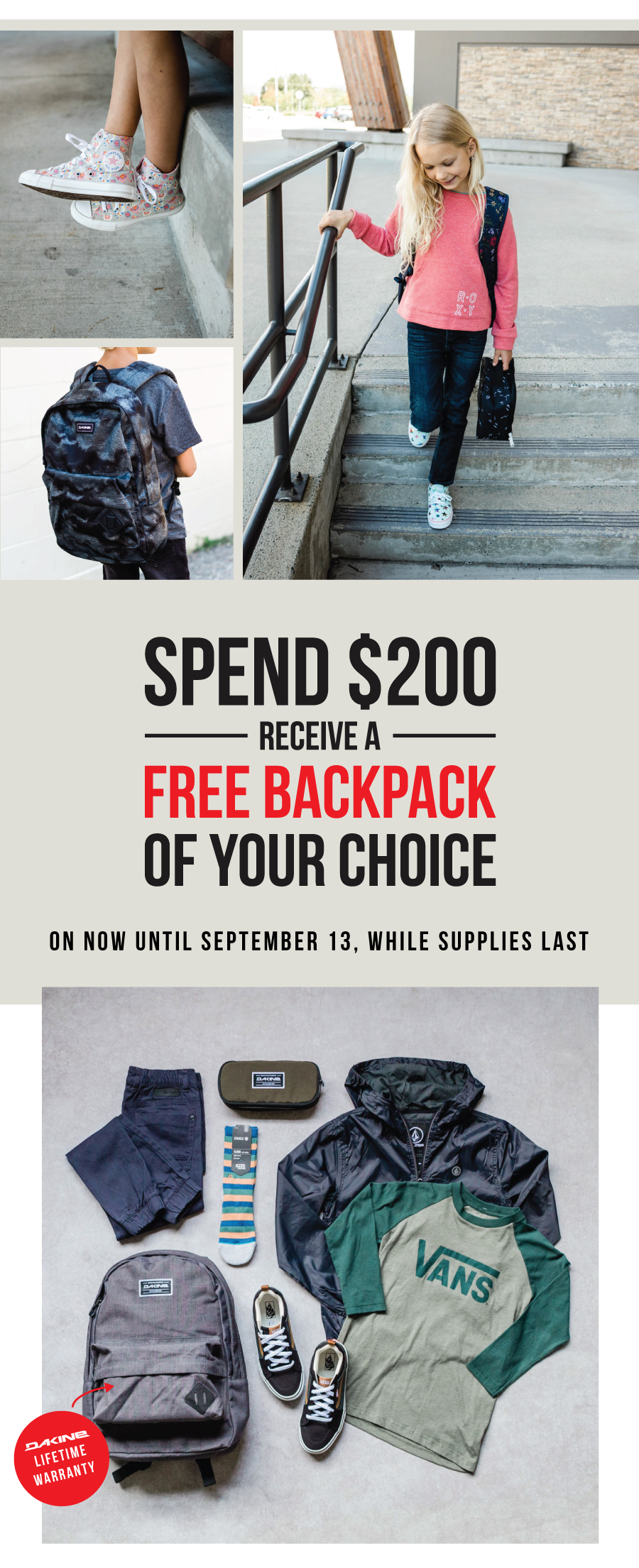 Spend $200 get a FREE BACKPACK at Premium Label Outlet